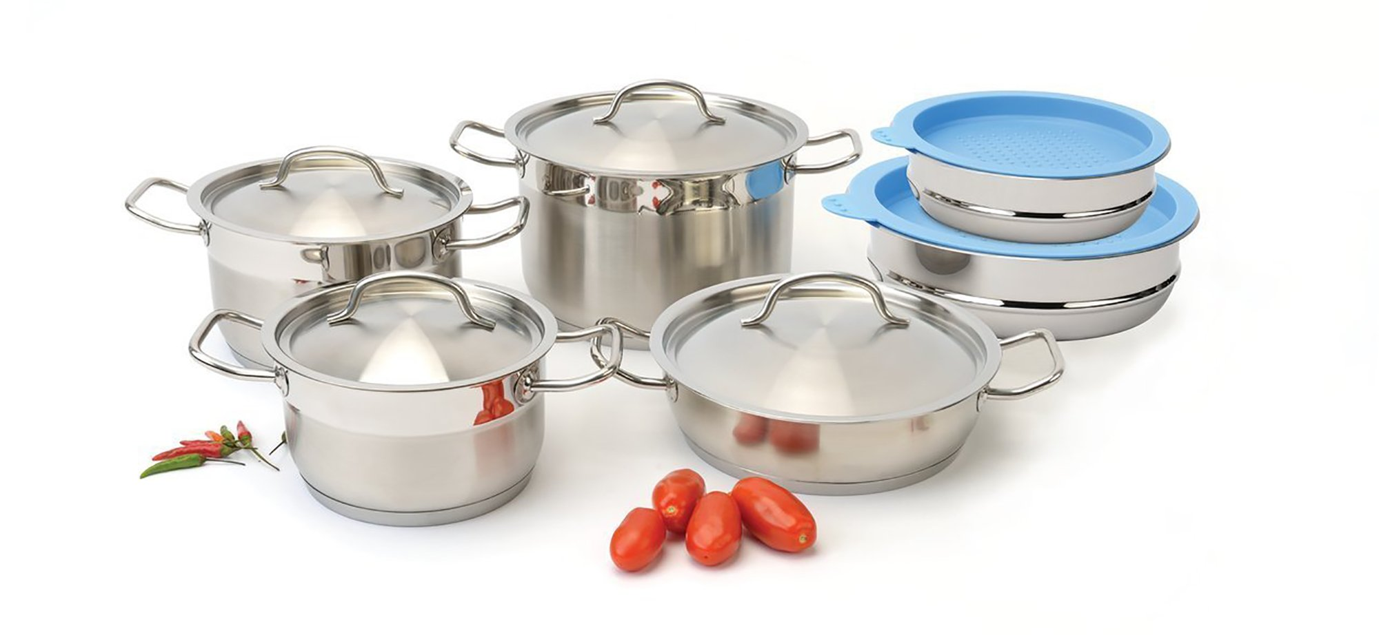 BergHOFF Hotel Line 12-Piece Cookware Set with Mixing Bowls