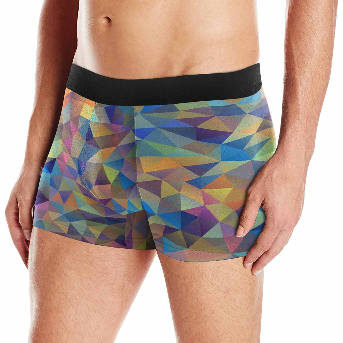 INTERESTPRINT Custom Mens All-Over Print Boxer Briefs Abstract Colorful Triangles XS-3XL