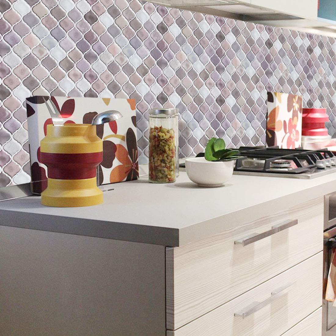 Peel And Stick Tile Backsplash For Kitchen Bathroom,Teal Arabesque Tile Backsplash,Mosaic