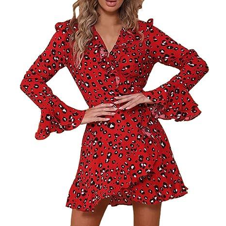 Donna Vestiti Da Sera Cocktail Eleganti Corto Autunno Chiffon Abito  Stampato Floreale Manica Lunga Rotondo Collo 81f47fd2337