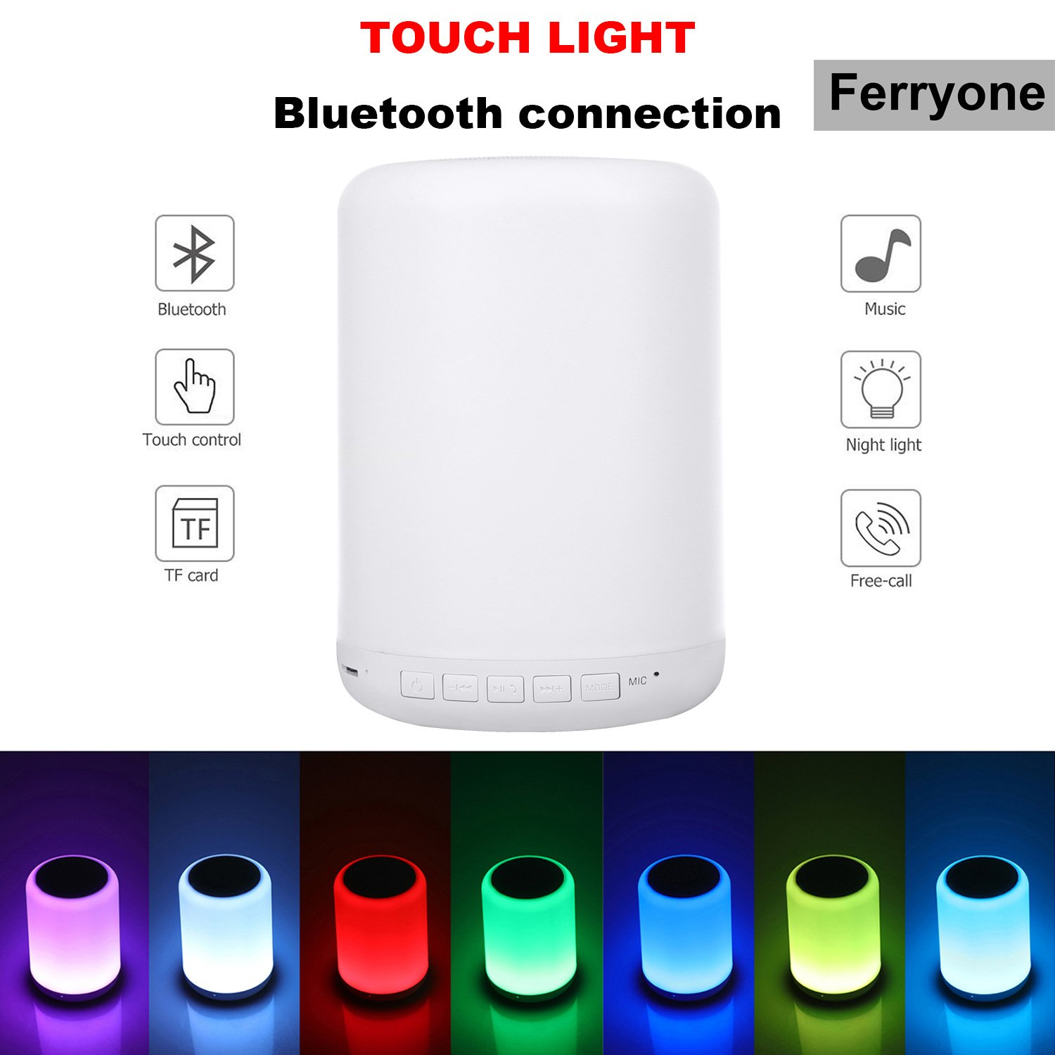 Touch Bedside Lamp -with Bluetooth Speaker,Outdoor Table Lamps,Dimmable Warm Light & Color Changing,with Smart Touch Control Best Gift for Men Women Teens Kids Children Sleeping Aid (White)