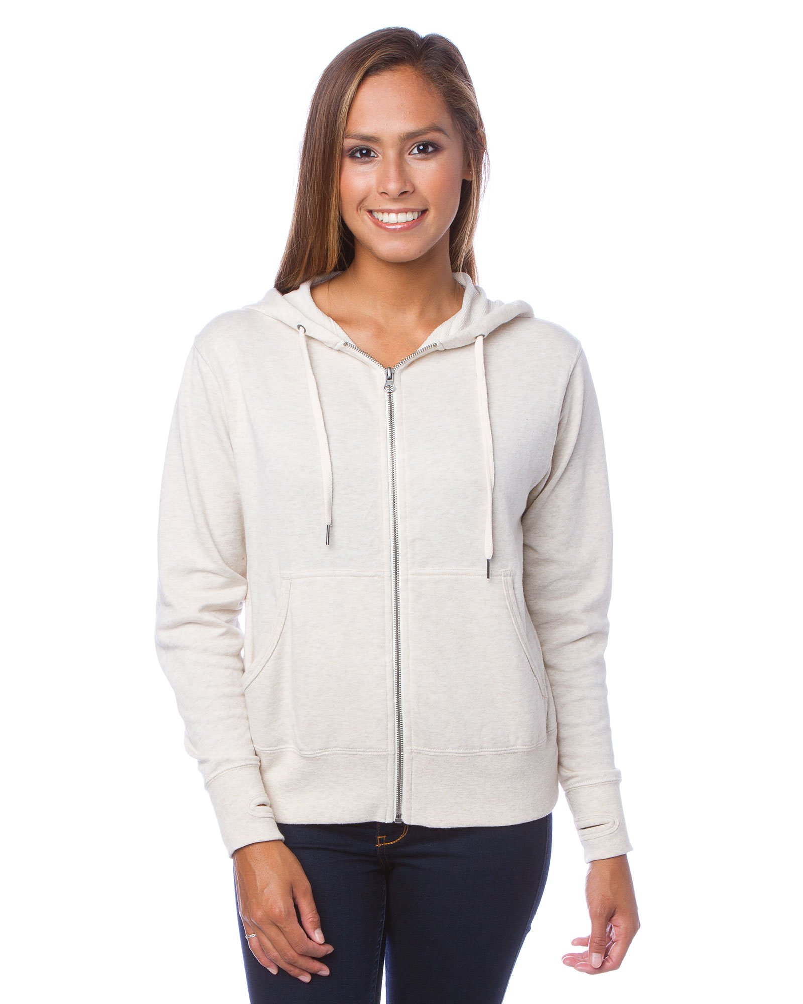 Global Blank Slim Fit French Terry Lightweight Zip Up Hoodie for Men and Women XS Off White