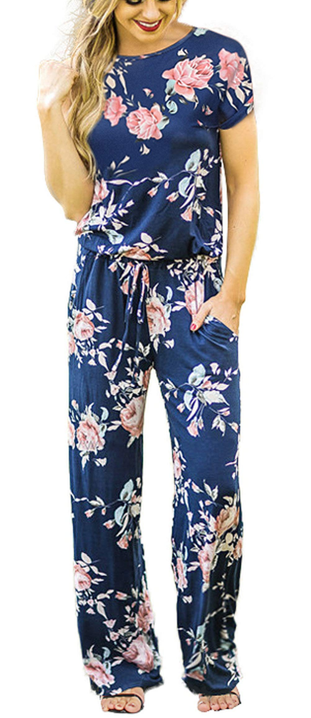 RichCoco Women's Floral Printed Jumpsuit Casual O Neck Loose Long Wide Legs Pants Jumpsuit Rompers with Pockets (Blue, L)