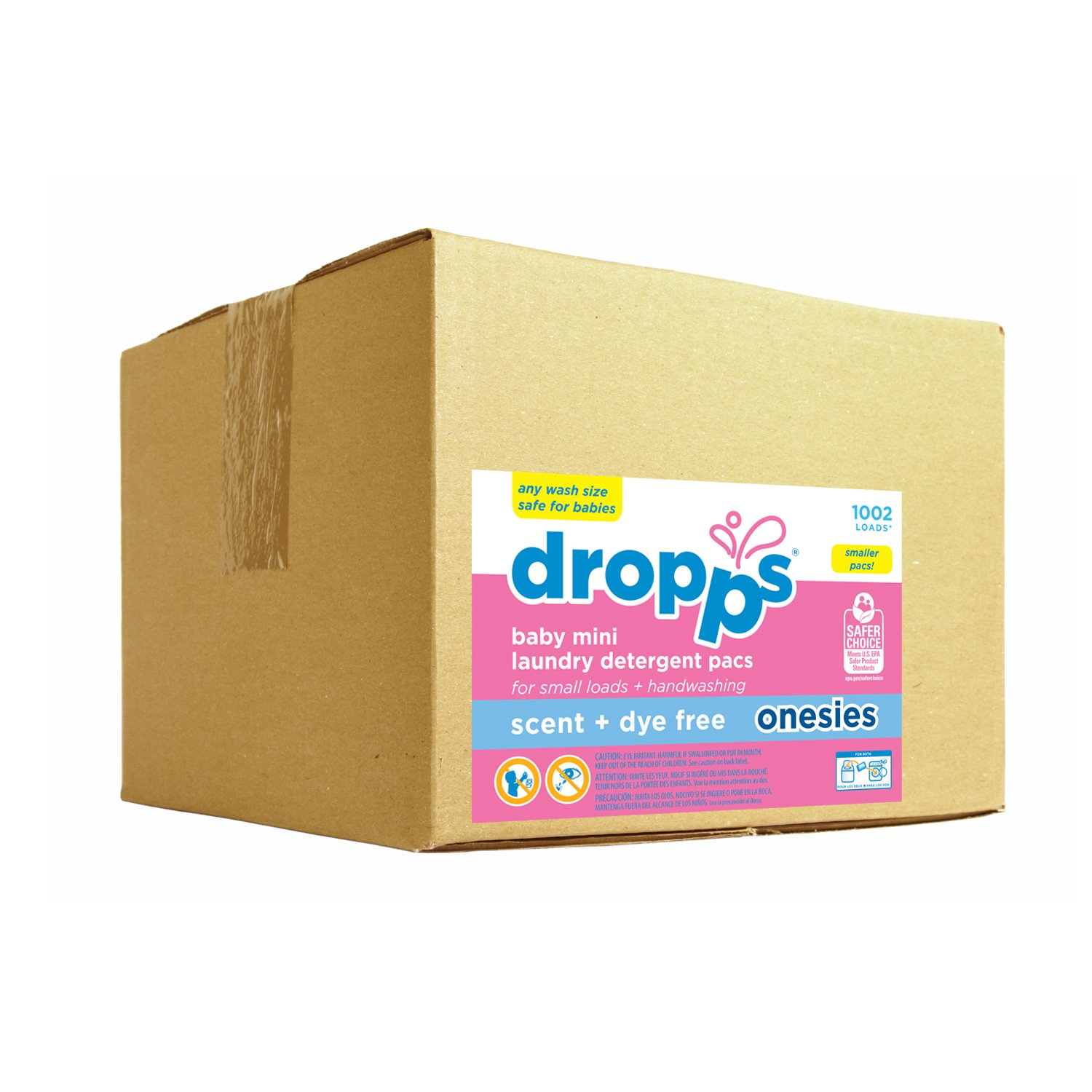 Dropps HE Baby Hand /Machine Wash Onesie Laundry Detergent Pacs, Scent Dye and Enzyme Free, Bulk Box, 1002 Count