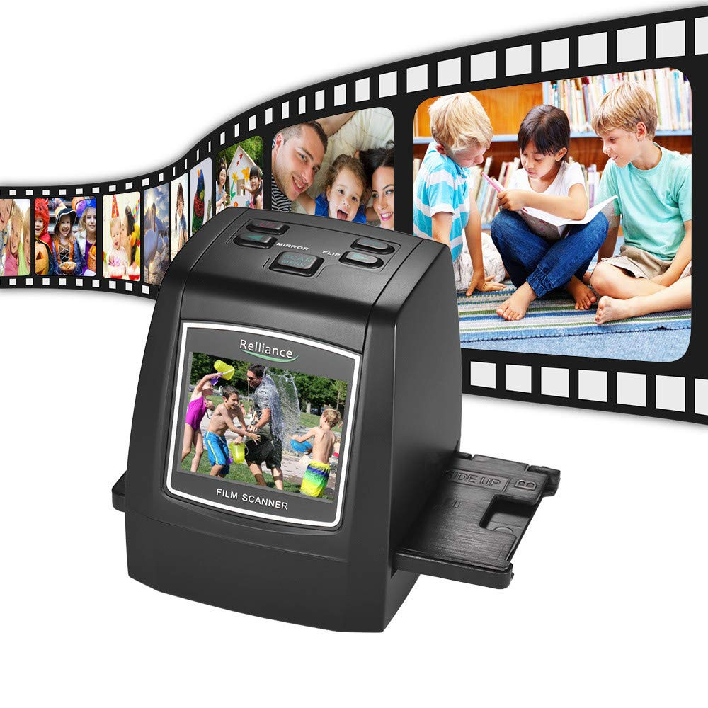 Film & Slide Scanner, TechCode Mini Digital Films/Slides/Negatives to Digital JPG Photos Image Viewer W/ 32GB Memory Card 2.4 LCD Screen Converter Build-in Editing Software for Family Office