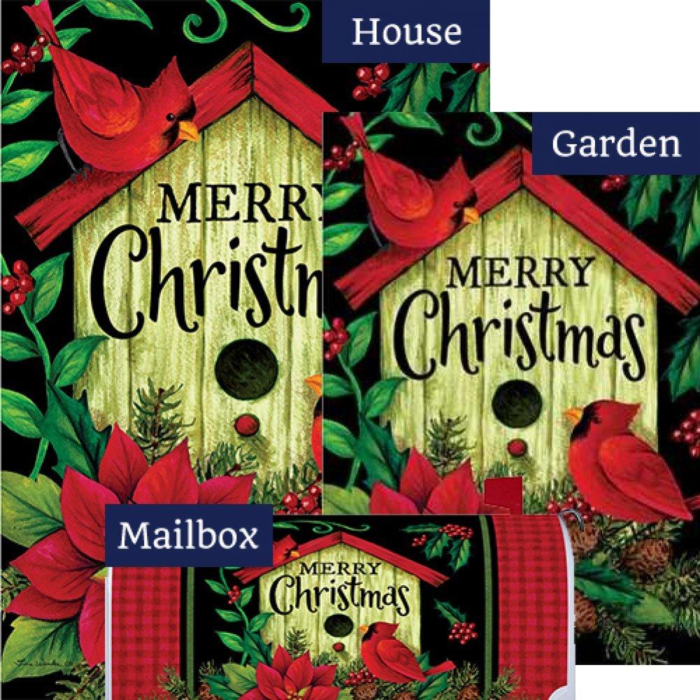 Merry Christmas Birdhouse Flag Mailbox Cover Bundle (Bundle Of 3) by Custom Decor