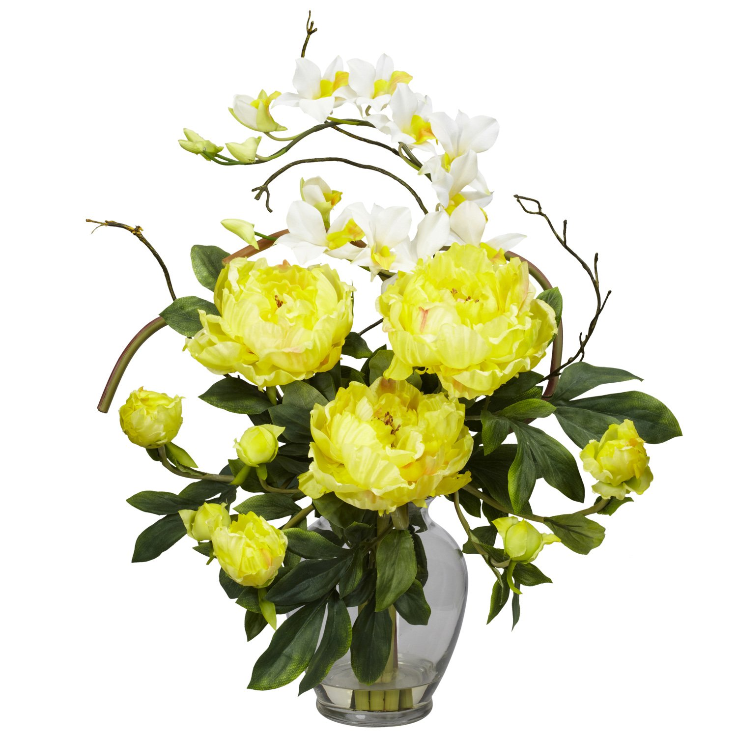 Amazon nearly natural 1175 rd peony and orchid silk flower amazon nearly natural 1175 rd peony and orchid silk flower arrangement red home kitchen dhlflorist Gallery