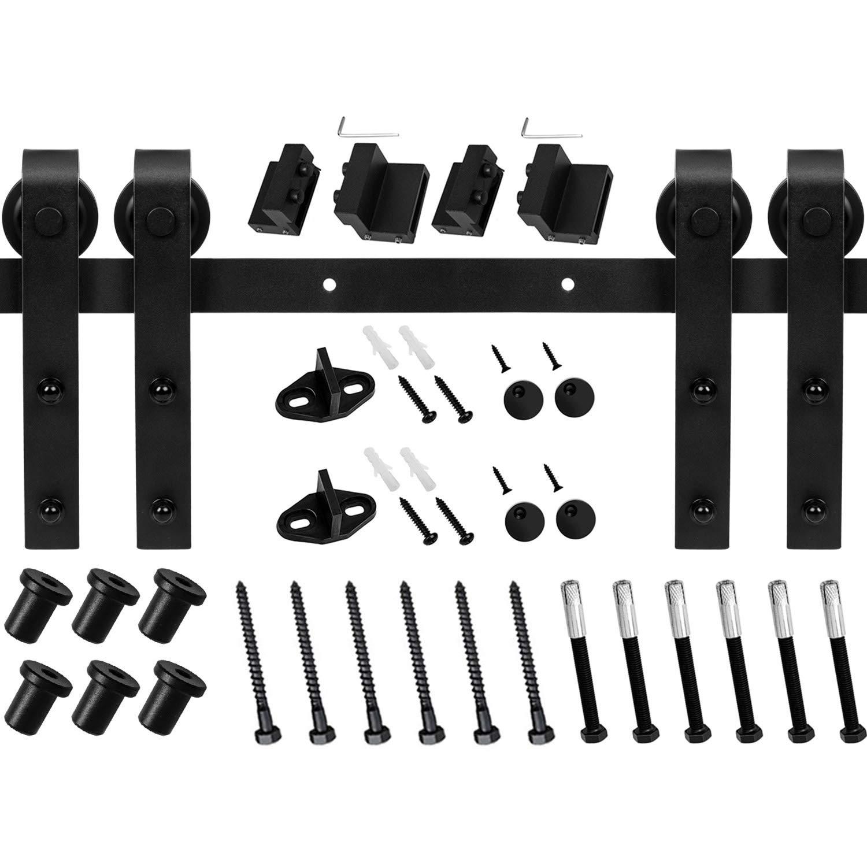 EaseLife 8 Ft Double Sliding Barn Door Hardware Track Kit,Carbon Steel,Black Powder Coating (8 Foot Double Door Kit)