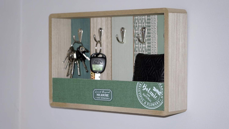 Dream Hogar Caja Llaves cuelgallaves portallaves Madera Lavanda 25x37x7 cm