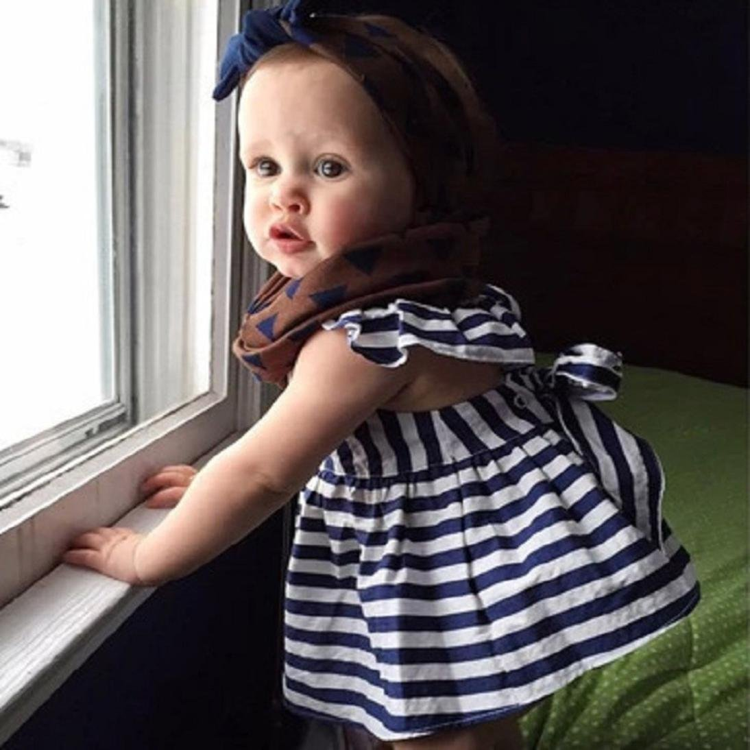 Womail New Fashion Baby Girls Clothes Summer Sunsuit Infant Outfit Stripe Backless Dress Brief Clothing