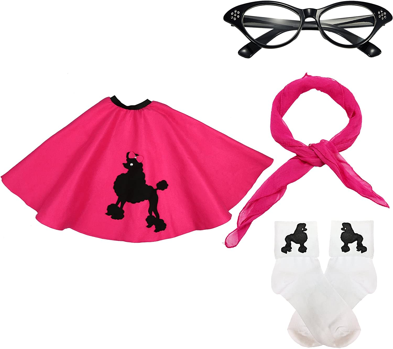 50s Womens Costume Accessory Set - 1950s Poodle Skirt, Chiffon Scarf, Cat Eye Glasses,Bobby Socks w/Poodle Applique