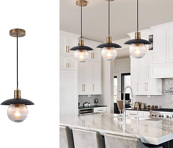 Tlolgt Black Pendant Light Industrial E26 Base Pendant Light Vintage Hanging Pendant Lighting With Decorative Pattern Glass Shade For Home Kitchen Bedrooms Living Room Amazon Com