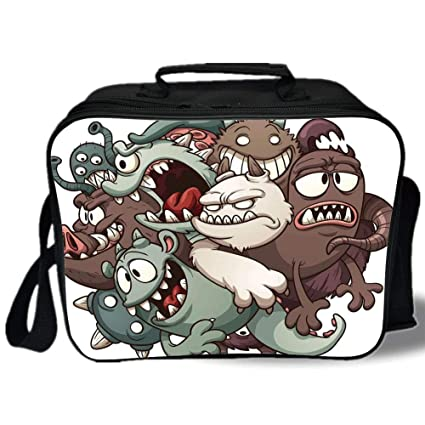 7a4a6392b016 Amazon.com: Kids 3D Print Insulated Lunch Bag, Cute Monsters ...