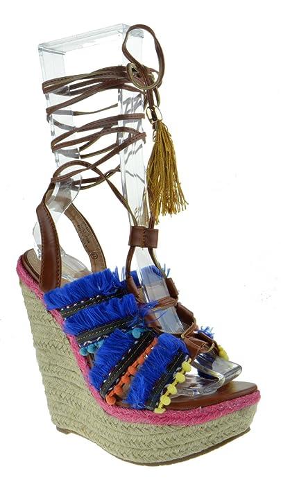 6f5a3df02297 Chase + Chloe Atlantis 1 Womens Wrap Around Espadrille Wedge Platform  Sandals Tan Multi 6