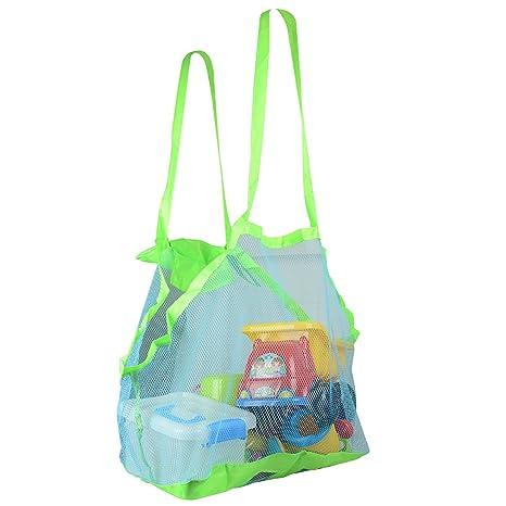 Fstoption Malla playa bolsas de mano, bueno para la playa de la familia juego de niños Bolsa de Almacenaje Organizaodr Juguetes de Playa Plegable ...