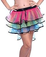 1980s 80s Layered Tiered Neon Flo UV Rainbow Burlesque Bustle HEN NIGHT Halloween Rara Rave Party Ruffled Frill Tulle Tutu Skirts Fancy Dress