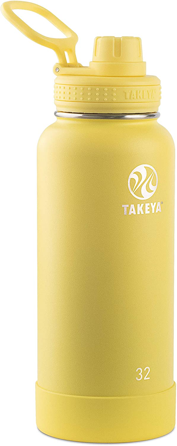 Takeya 51175 Actives Stainless Steel Insulated Water Bottle with Spout Lid, 32 oz, Canary