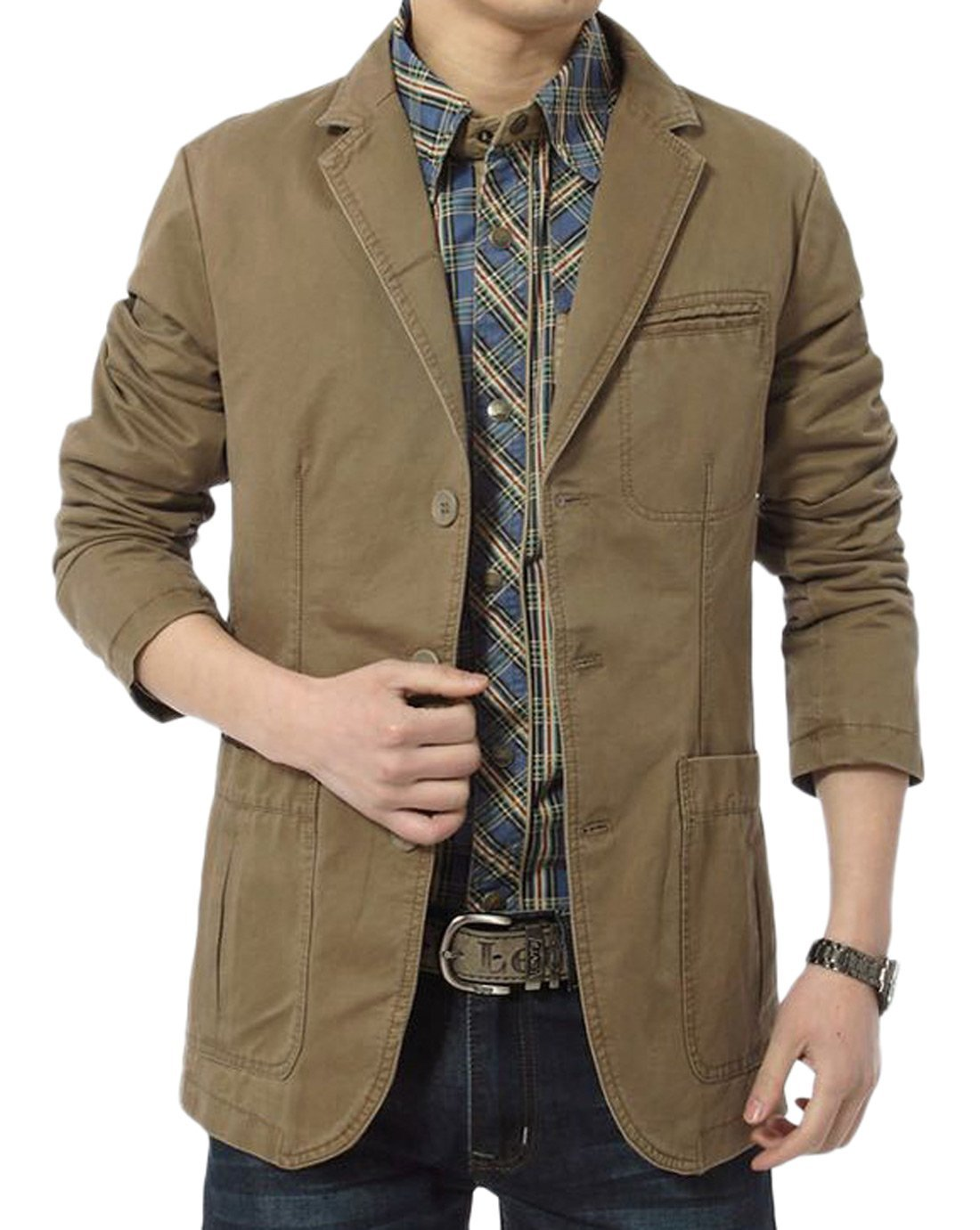 Chouyatou Men's Cotton Casual Slim Fit Suit Jacket (Small, HKhaki)