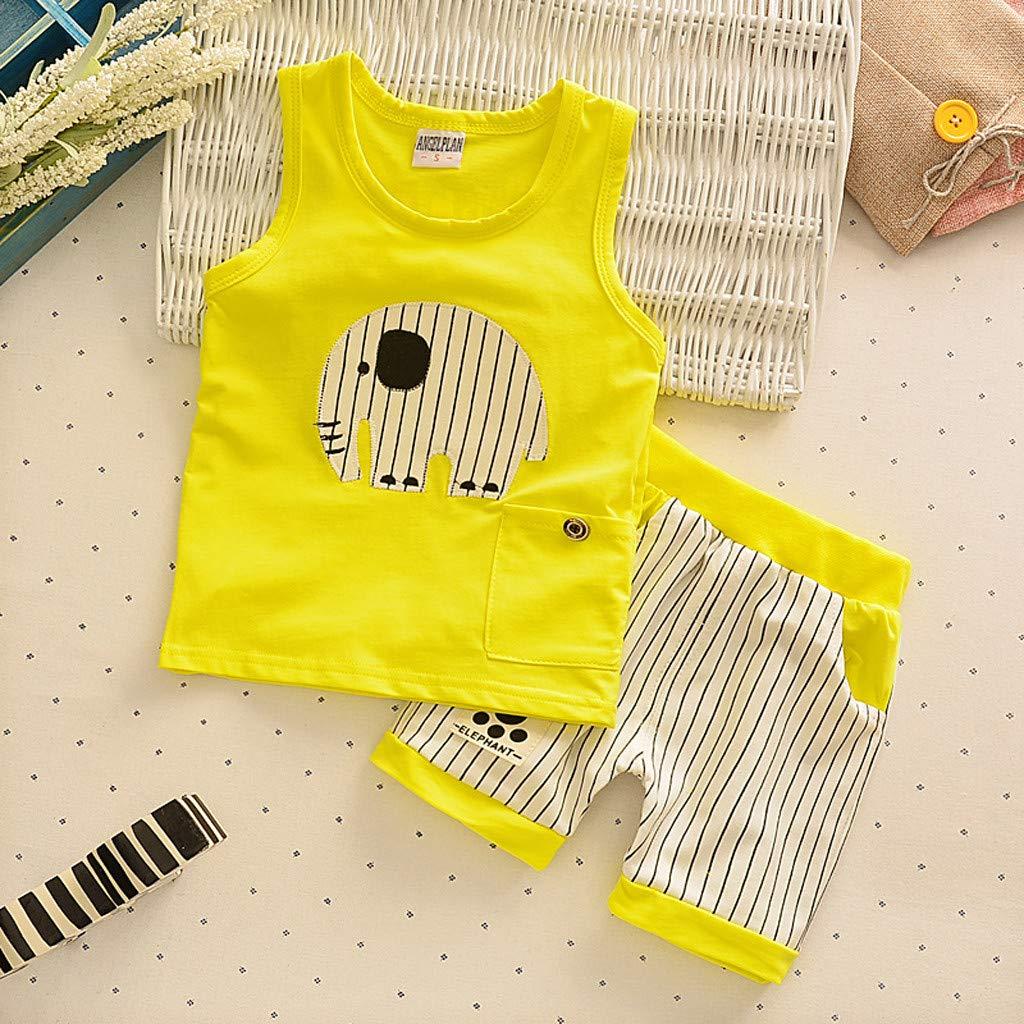 Cute Baby Boys Summer Pajamas Set | Toddler Boys Cartoon Vest Blue Tees Stripe Shorts Sets(Yellow,110) by Wesracia (Image #2)