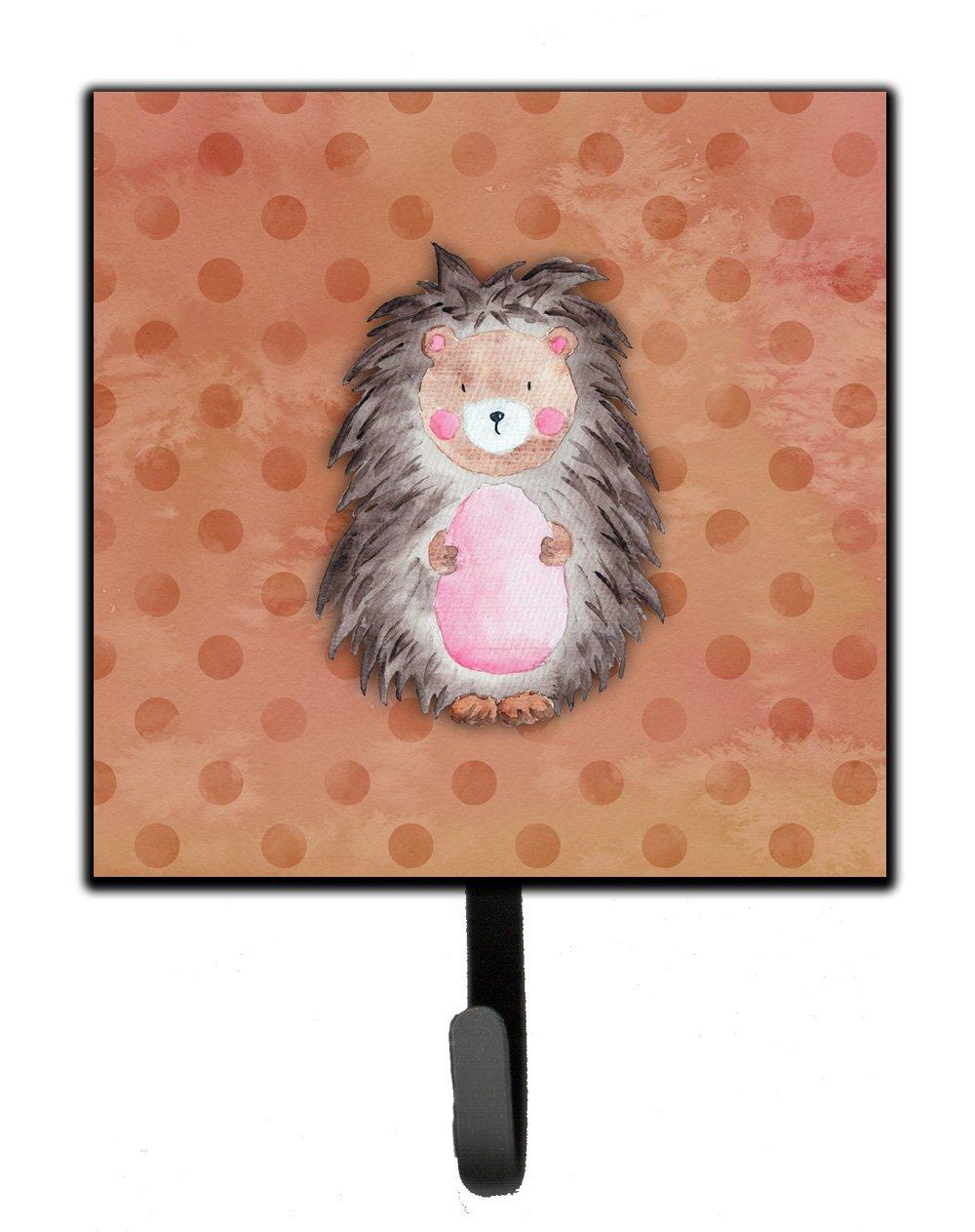 Carolines Treasures Polkadot Hedgehog Watercolor Wall Hook Small Multicolor