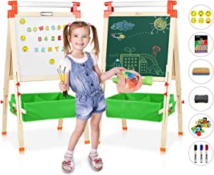 JOYOOSS 3 in 1 Kids Wooden Art Easel with Bonus Kids Art Supplies, Double Sided Children Easel Chalkboard/Magnetic Dry Erase Board - Toddler Easel with Storage Bins for 3~12 Years Kids …
