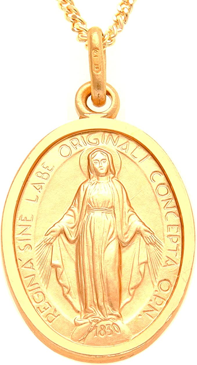 "Collar Con 18 /""chain-Madonna Medalla De 9 quilates de oro Milagroso Mary Medalla Colgante"