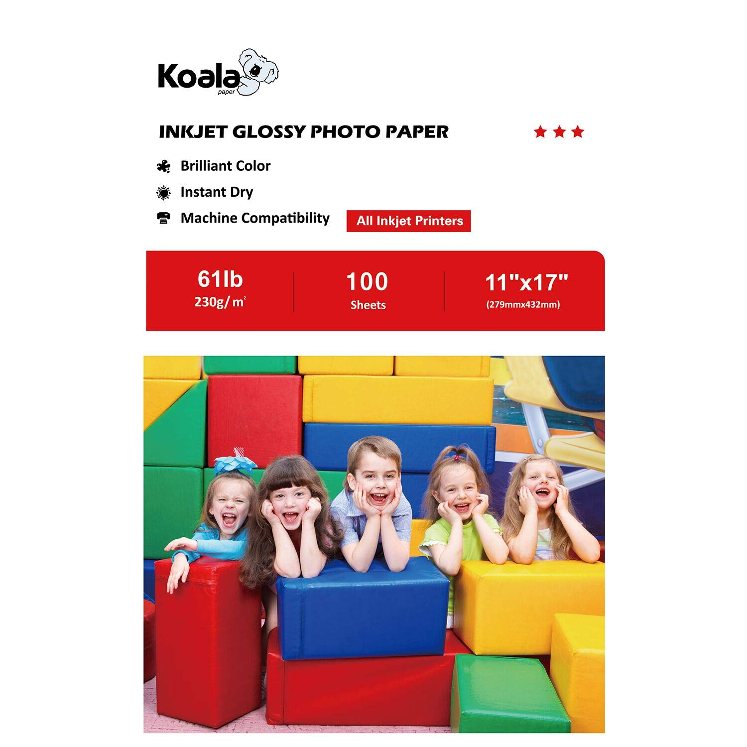 Koala Photo Paper High Glossy 11x17 Inches 230gsm 100 Sheets Compatible with All Inkjet Printer