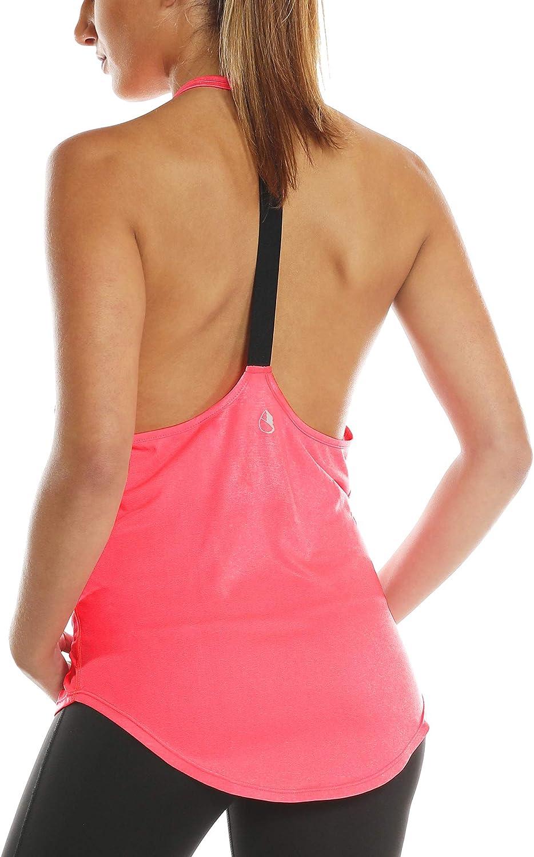 icyzone Damen Zumba Shirt Sport Top Lang R/ückenfrei Workout Gym Tanktop Yoga Oberteile