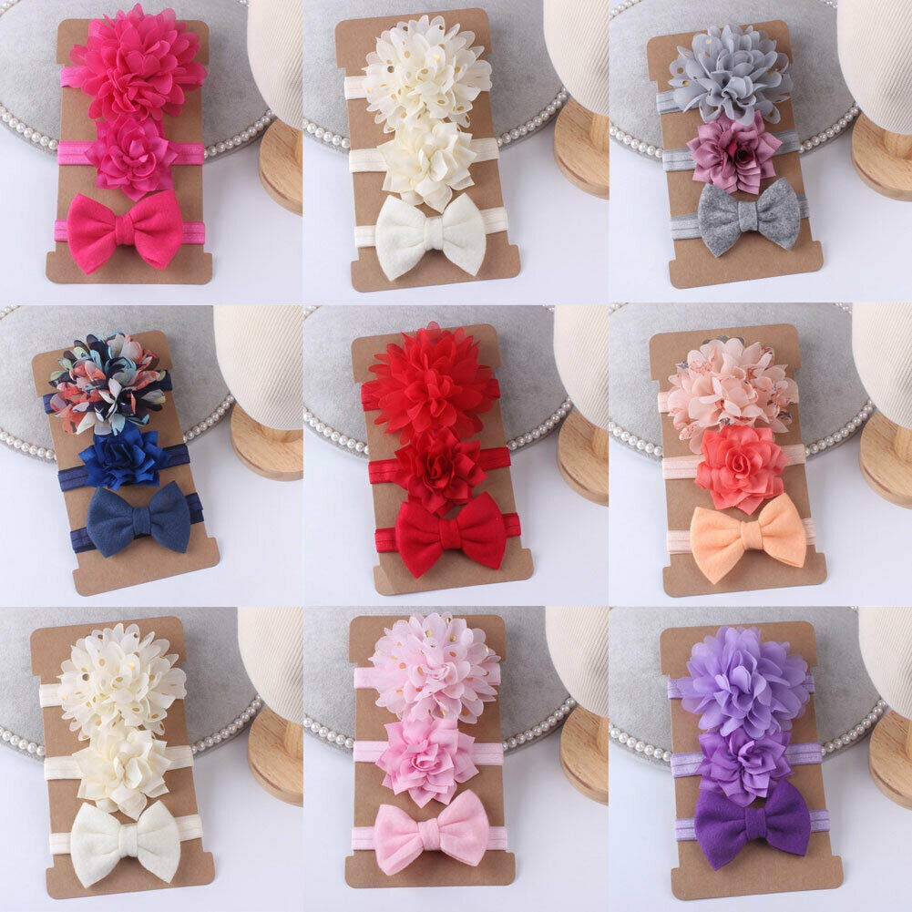 Baby Floral Chiffon Bowkont Headbands for Toddler Girls Hair Band Lovely Newborn Bow Headwear 3Pcs set Hair Accessory