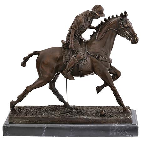 Figura de bronce de jugador de polo polo polo caballo Polo Raqueta ...
