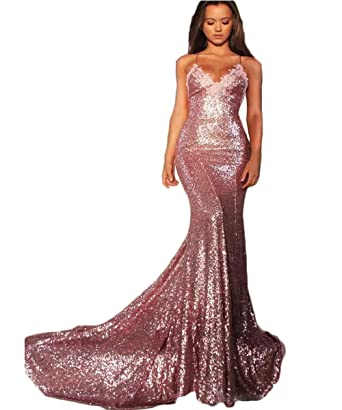 Hot Dresses Backless Sequin Prom Dress Mermaid V-Neck Sexy Sparking Party Gowns (2