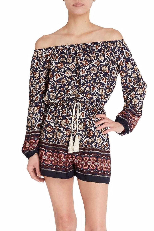 Women's Fashion Multi Color Floral Prints Off Shoulder Tassels One Piece Romper