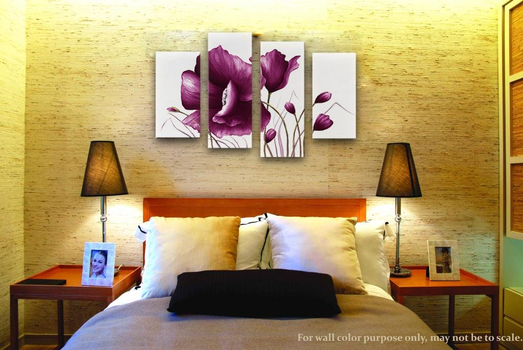 Amazon.com: Wieco Art Purple Plum Flowers Canvas Prints Wall Art ...