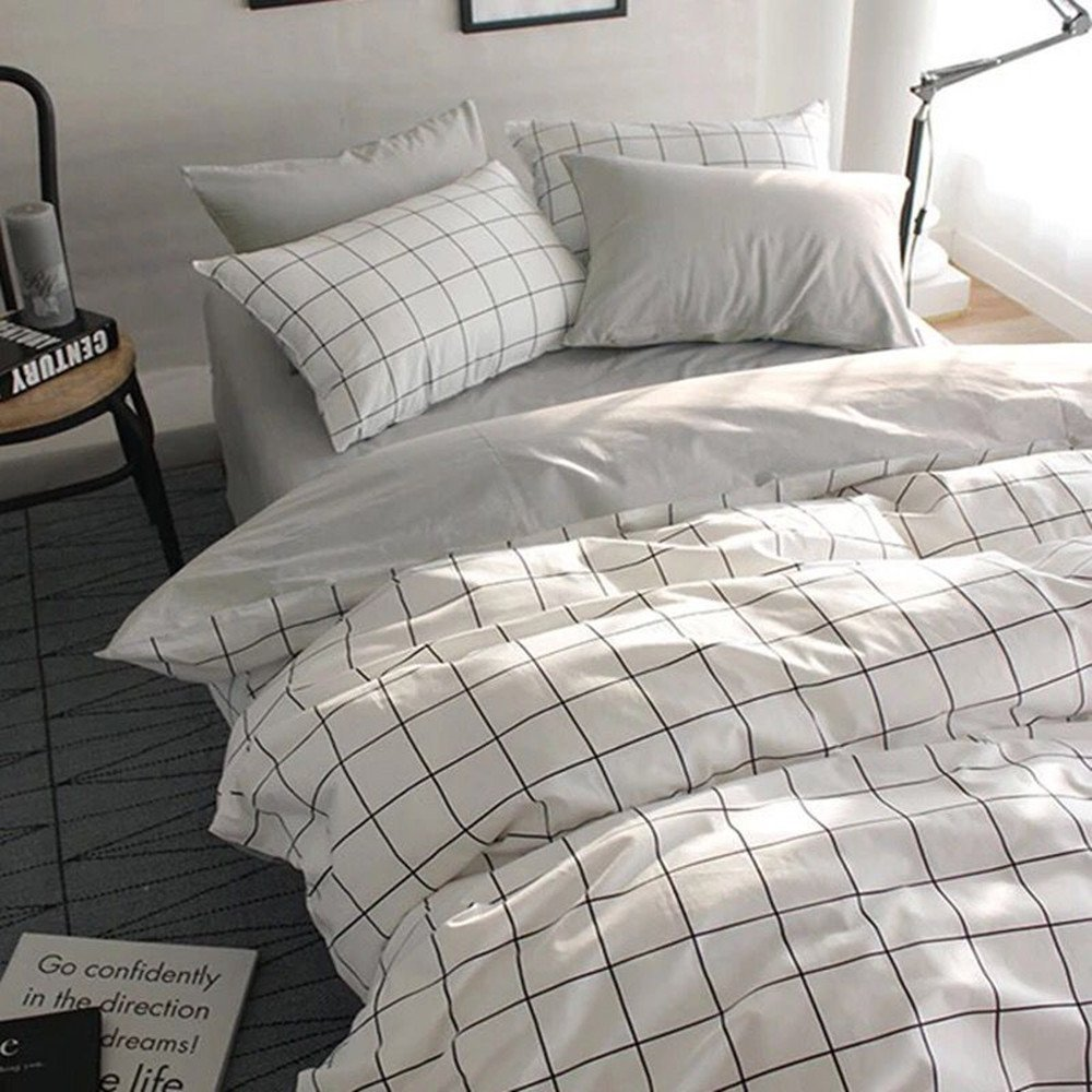 VClife Queen/Full Duvet Cover Set Cotton Bedding Set Collection with 2 Pillow Shams Grey White Checkered Style VLSELF0037-2-gezi-90