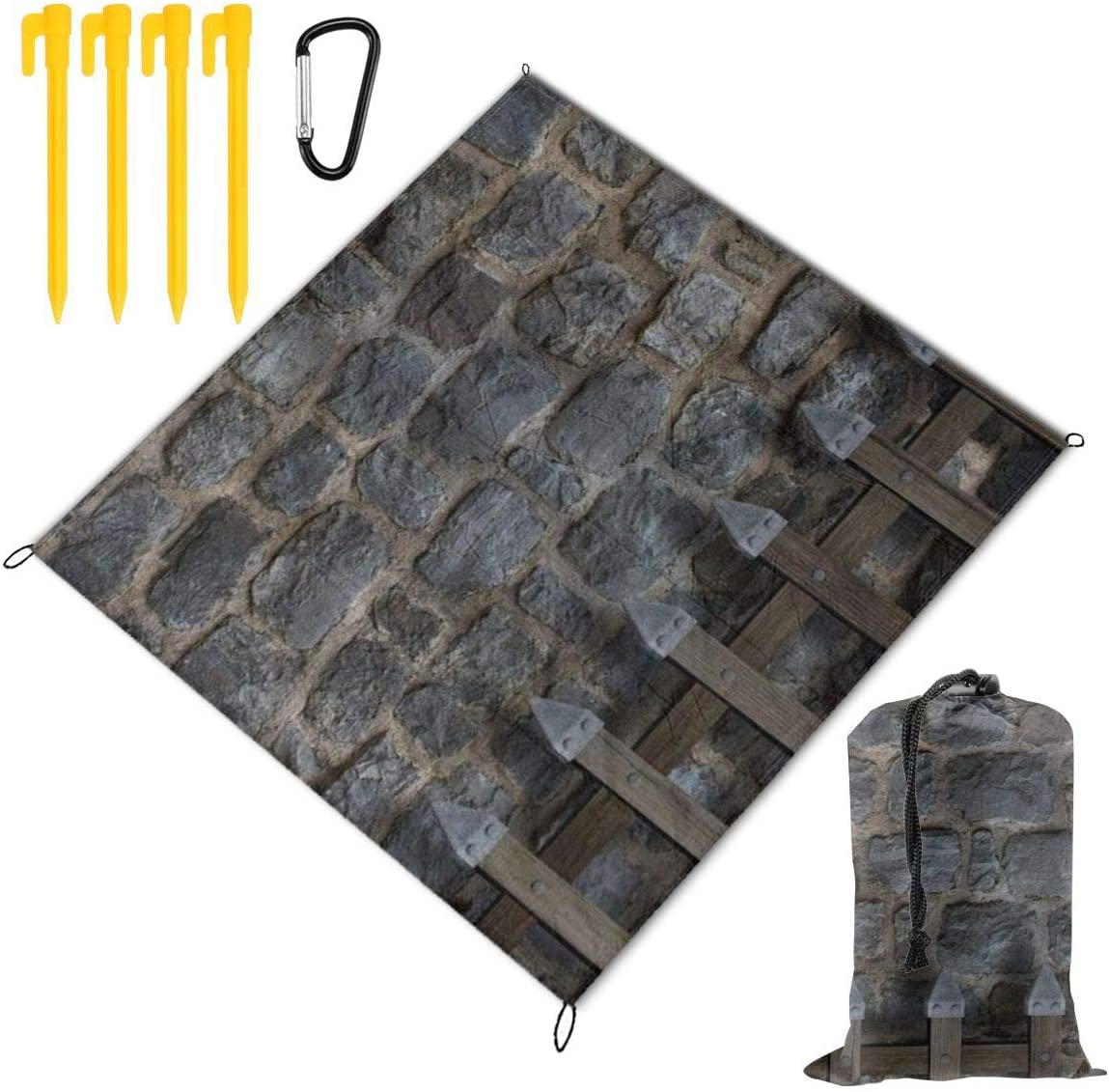 HARXISE Alfombras de Playa,Retor Construction Home Medieval Old Barras de Madera en la Pared de Piedra del Castillo,Manta de Picnic Impermeable para la Playa Acampar Picnic y Otra Actividad