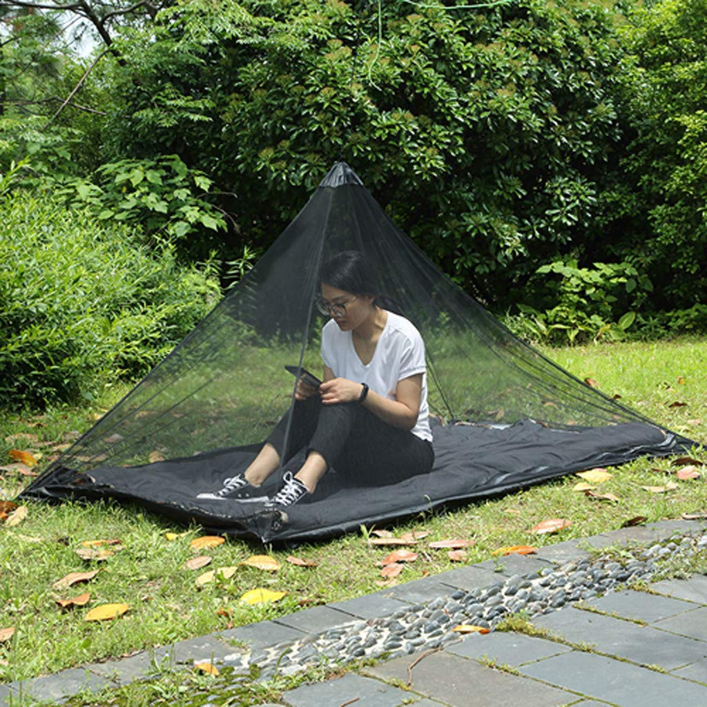 Cooljun Outdoor Single Person Travel Camping Climbing Fishing Portable Soft Lightweight Foldable Needle-Like 50D Perspective Mesh Oxford Cloth Triangular Mosquito Insect Bugs Net Tent