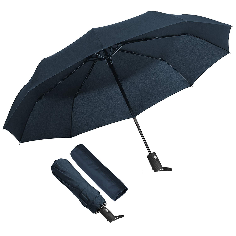 Parapluie Pliant, ECHOICE Parapluie Pliable Noir Automatique Ouverture et Fermeture Résistant à Tempête Compact Léger Parapluie de Voyage pour Homme et Femme (Bleu1)