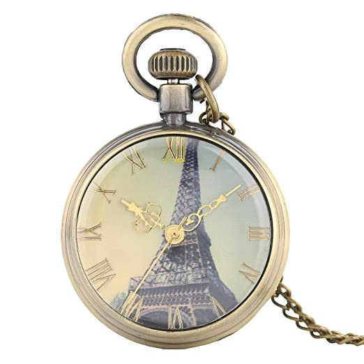 Reloj de Bolsillo para Hombre, Bronce, diseño de números Romanos Antiguos, para Regalo del día de San Valentín: Amazon.es: Relojes