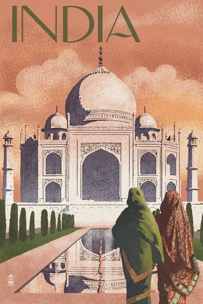 Taj Mahal, India - Lithograph Style (24x36 SIGNED Print Master Giclee Print w/ Certificate of Authenticity - Wall Decor Travel Poster) by Lantern Press (Image #1)