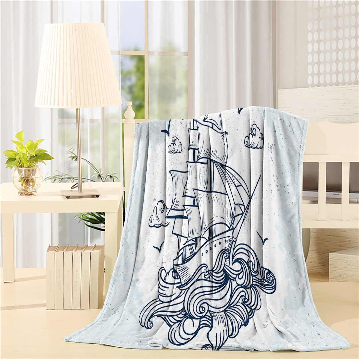 CHARMHOME Ultra Plush Comfort Throw Blanket 50 x 80 inch Lightweight Flannel Fleece Bed Blanket for Bedroom Living Rooms Sofa Couch - Navy Blue Sailboat durable modeling