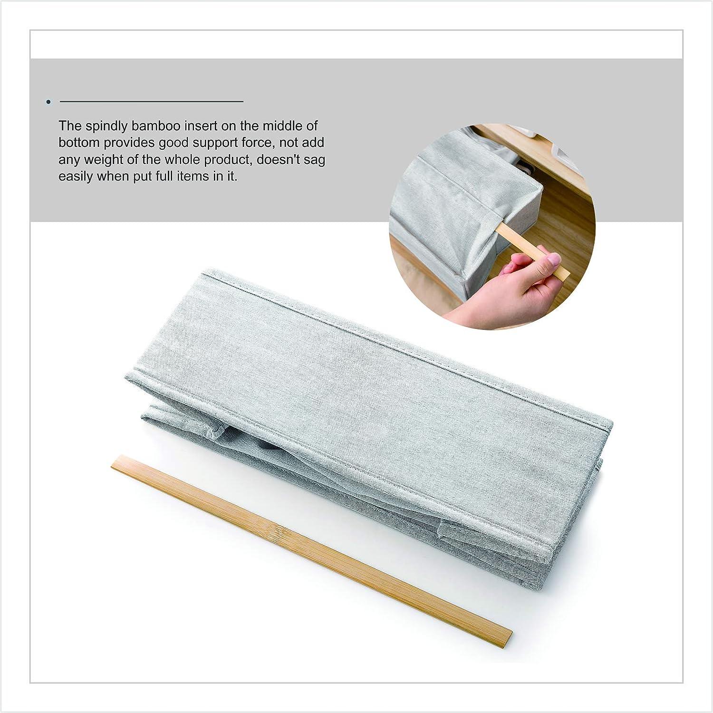para almacenamiento juego de 2 separadores de cajones de bamb/ú reforzados cajas de algod/ón color gris sin olor cesta armario organizador lavables de poli/éster Organizador de armario para ropa interior de Meetmiss