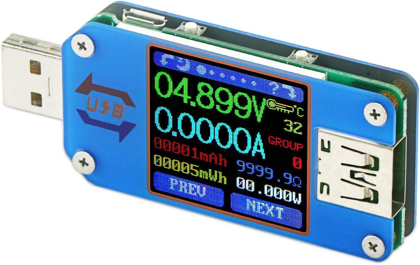 Droking Medidor de Potencia USB C, medidor Tipo C, probador de Voltaje y Corriente UM25 Tipo C, DC 4-24V 5A Velocidad de los Cables C, Capacidad del Banco de Potencia, Control de Calidad 2.0