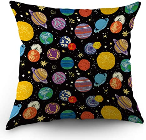 Moslion Planet Pillows Decorative Throw Pillow Cover Universe Outer Space Planets Star Pillow Case 18x18 Inch Cotton Linen Square Cushion Cover For Sofa Bedroom Multicolor Home Kitchen