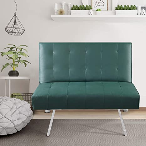 Amazing Bonzy Home Futon Sofa Bed Small Premium Pu Leather Single Futon Couch Sofa Chair Convertible Living Room Single Sofa For Small Space Green Alphanode Cool Chair Designs And Ideas Alphanodeonline