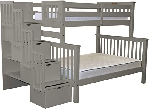 Bedz King Stairway Bunk Beds Twin over Full with 4 Drawers in the Steps, Gray