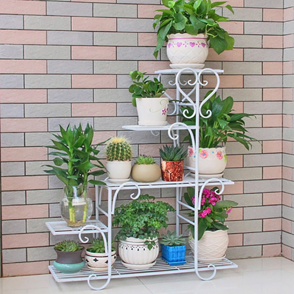 Zfggd Flower Stand Holds Flower Stand Stand in Ferro battuto Multi-Layer Pot Rack Living Room Balcony Flower Shelf (colore   Bianca, Dimensioni   S.)