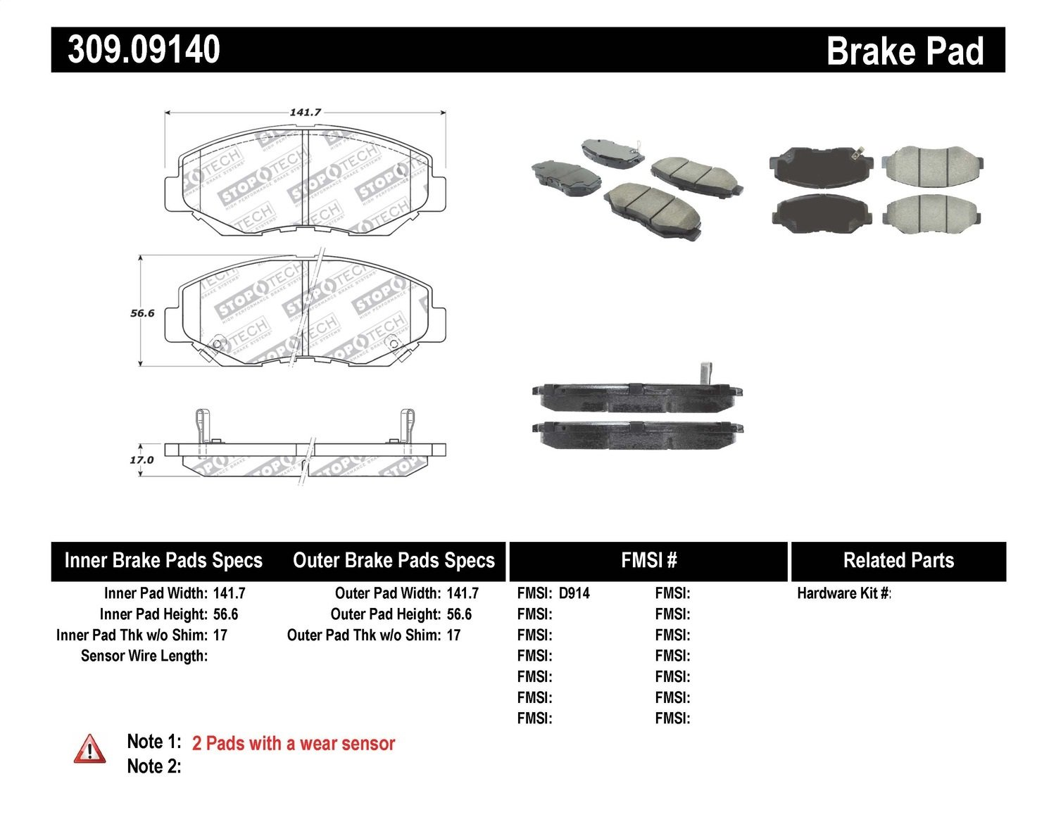 StopTech 309.09140 Street Performance Front Brake Pad