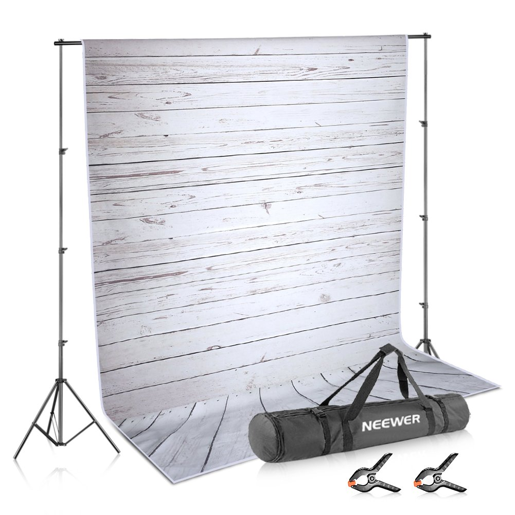 Neewer Photo Video Studio Backdrop and Support Kit: 5x7feet/1.5x2meters Striped Wooden Polyester Backdrop and 8.5feet/2.6meters Adjustable Support Stand with 2-Piece Background Clamps and Carrying Bag 10090127