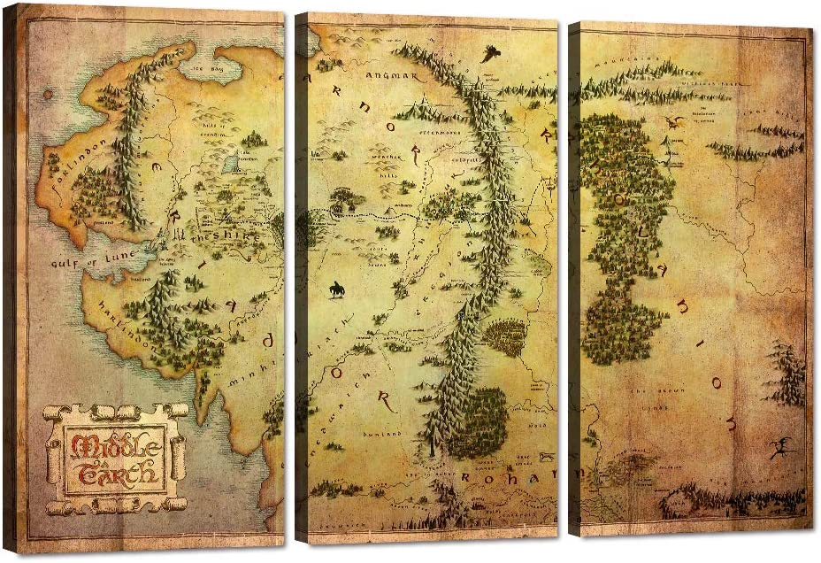 3 Piece Wall Art The Hobbit Map Canvas Painting Lord of the Rings Map Picture Map of Middle Earth Poster HD Print Home Decor Artwork for Living Room Bedroom Office Framed Ready to Hang (24''H x 36''W)