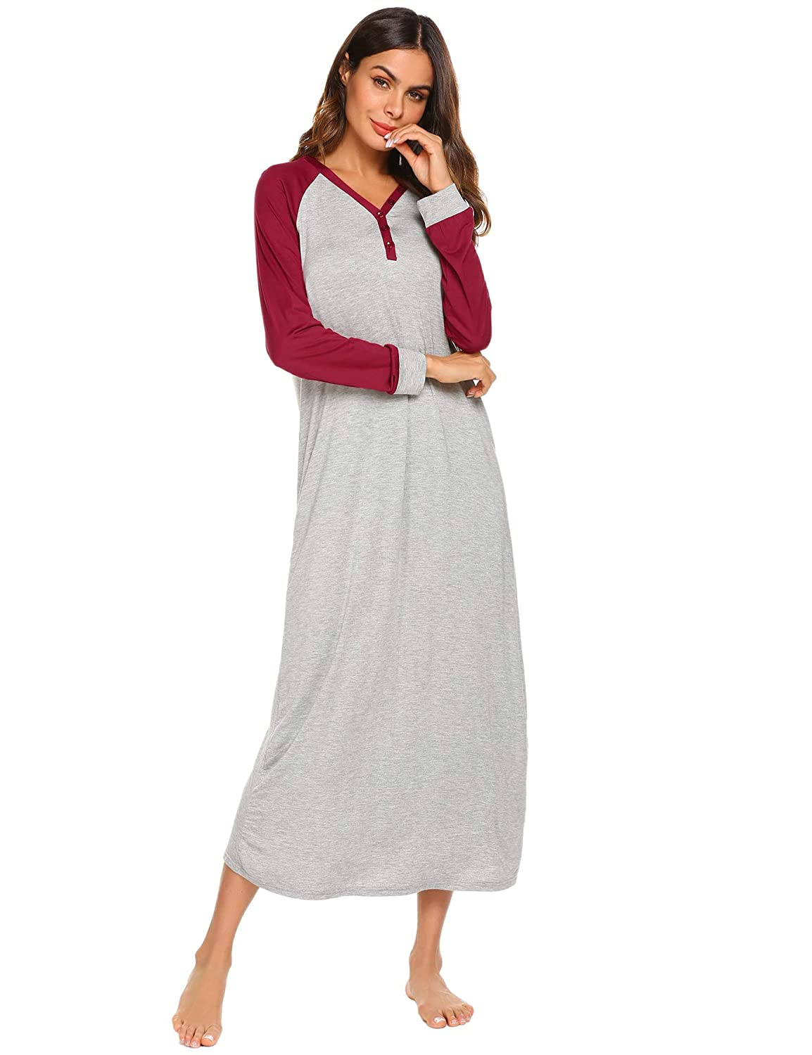 Ekouaer Sleep Shirt Women s Long Sleeve Sleepwear V-Neck Night Dress Nightgown  Loungewear S-XXL at Amazon Women s Clothing store  4f153d8e4